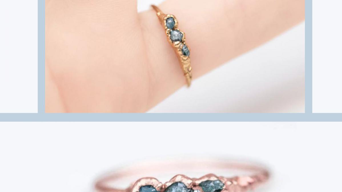 Triple Raw Blue Diamond Rose Gold Ring