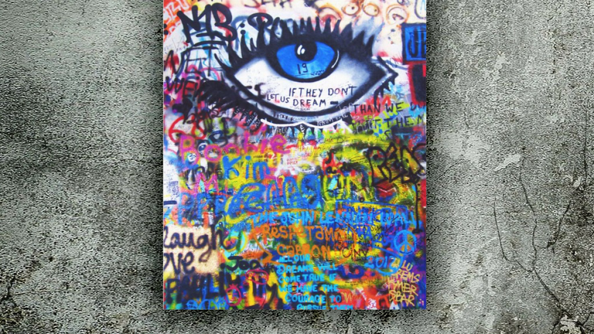 Blue Eye Graffiti Art Canvas Print