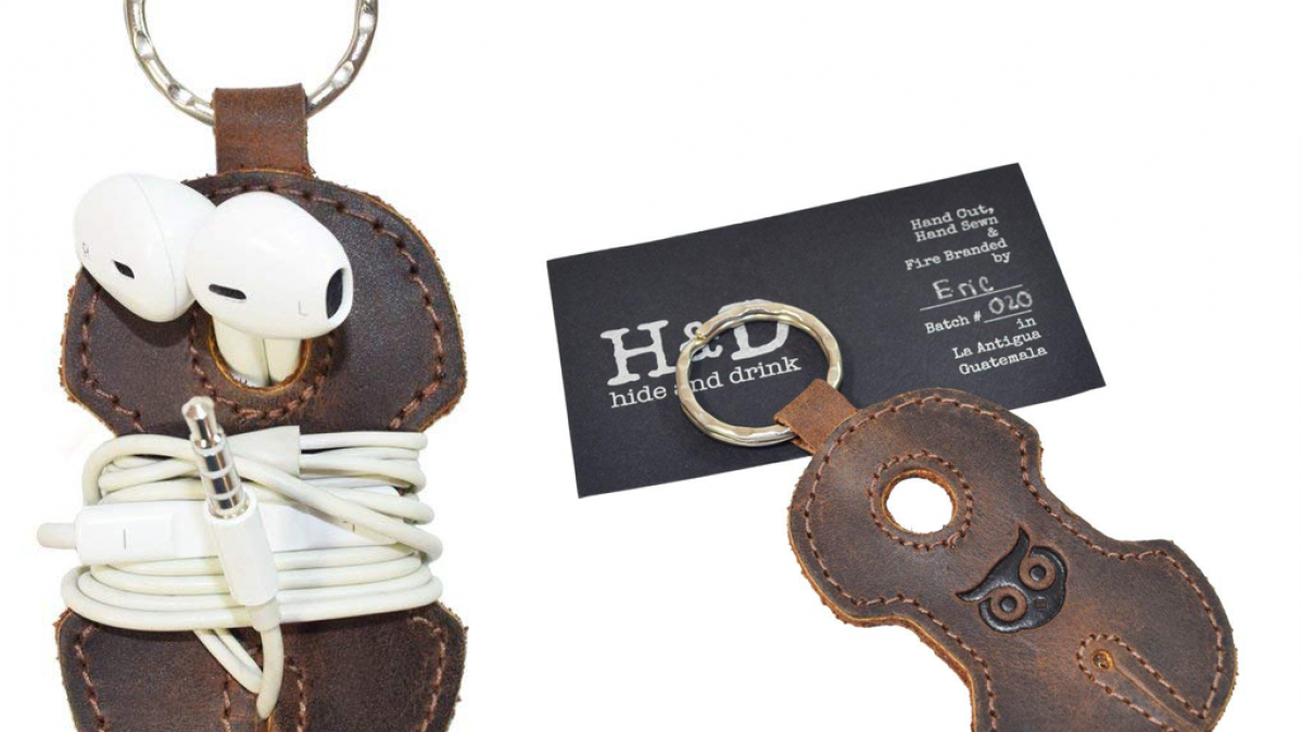 Leather Keyring Headphone Holder