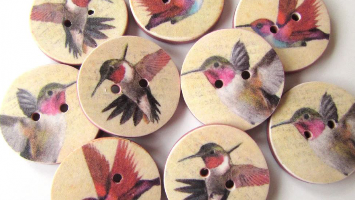 Gorgeous Handcrafted Hummingbird Buttons
