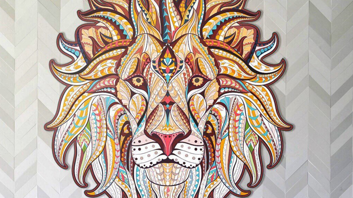 Fabulous Wooden Lion Wall Art Piece