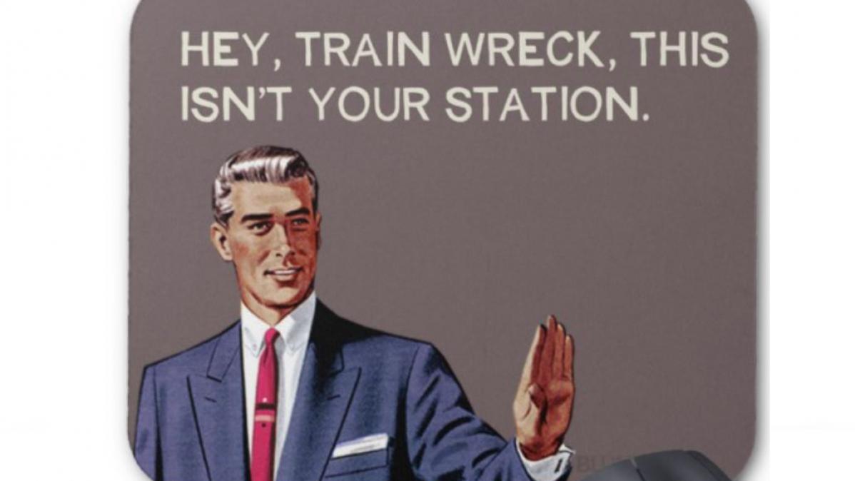 Funny Vintage Meme Style Train Wreck Mousepad