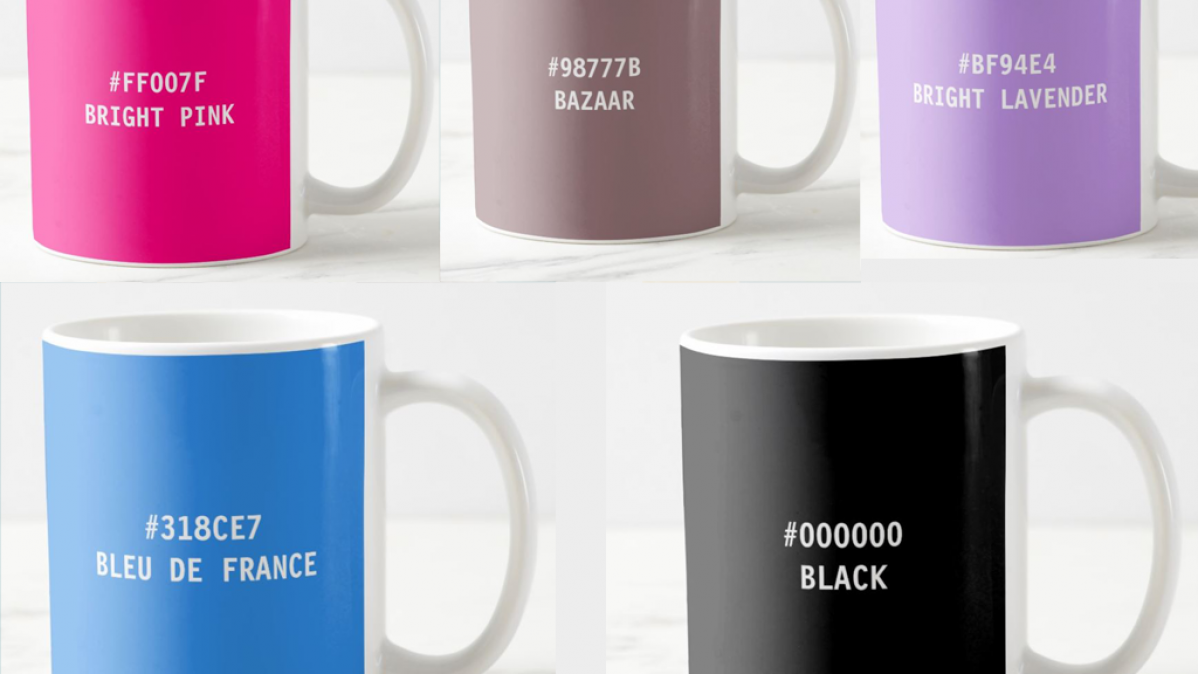 Modern and Colorful Hex Code Mugs