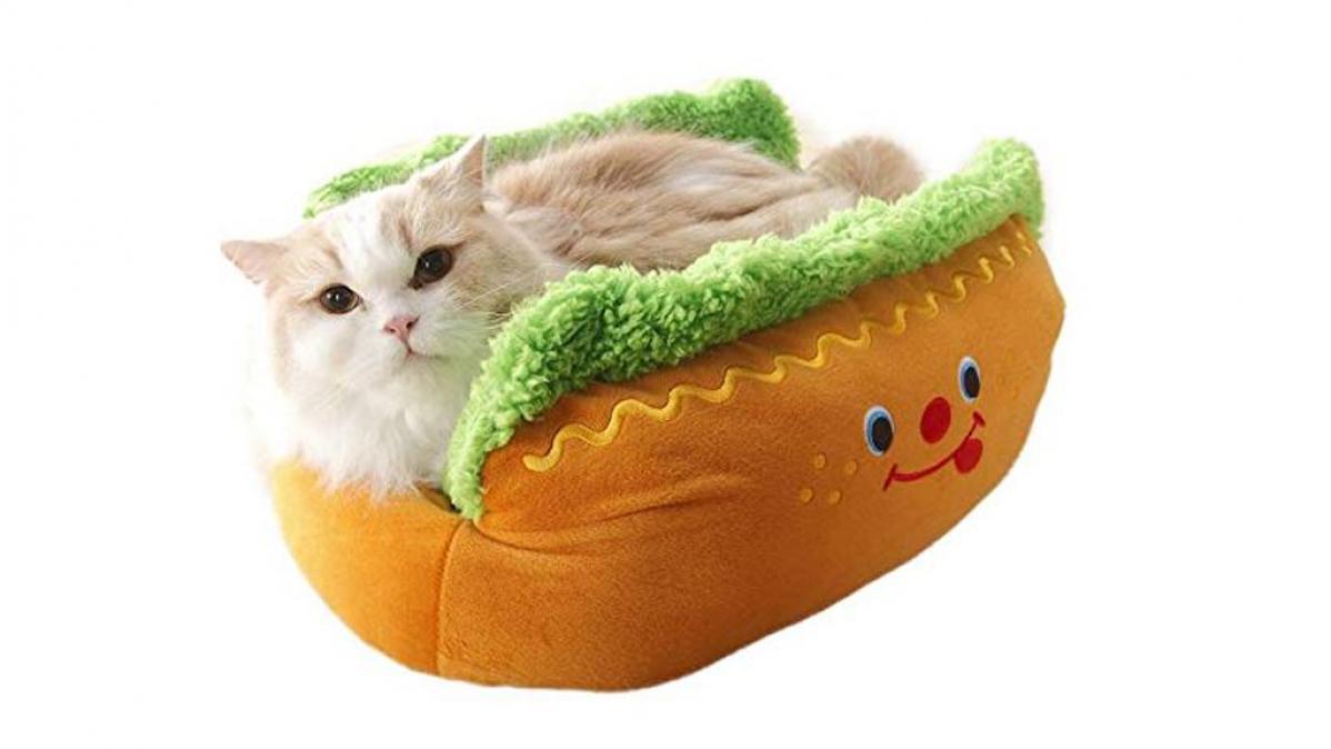 Adorable Plush Hot Dog Pet Bed