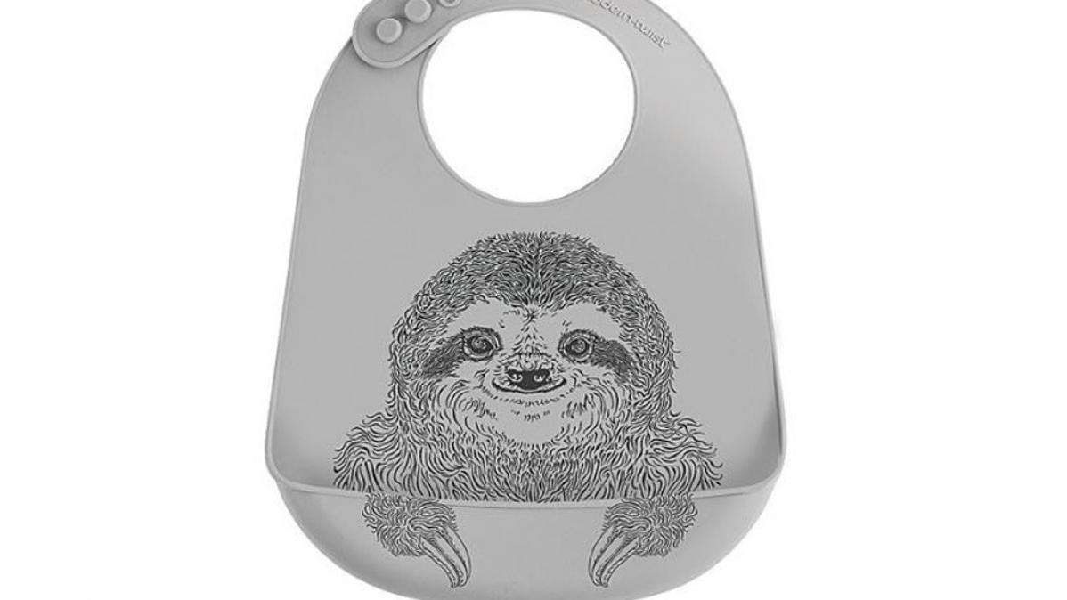 Cute Adjustable Silly Smiling Sloth Bucket Bib
