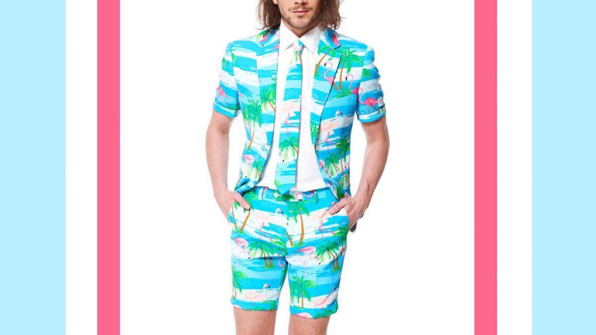 Bright Flamingo Summer Beach Suit